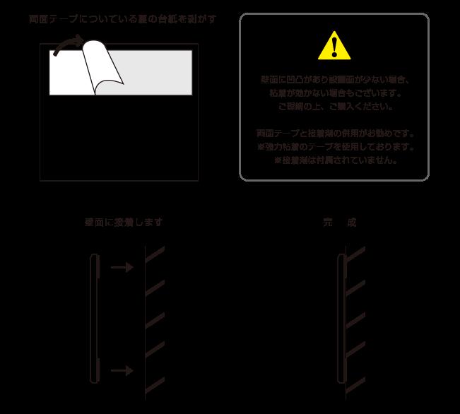 ガラス調インクジェットシート貼り×透明アクリル銘板 取付方法
