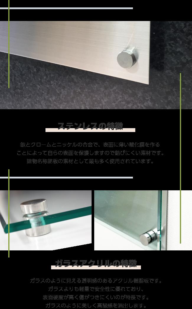 ステンレス×ガラス調アクリル銘板の特徴